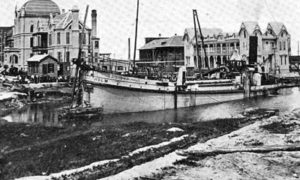 G-59262FF2-5 Dredge Boat Holm, dredging the Galveston Grade raising canal