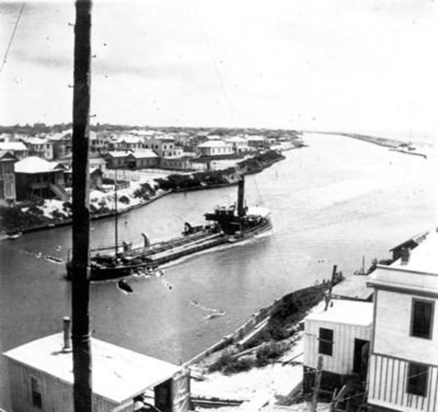 G-59263FF2-3 View of grade-raising canal taken from roof four-story Seaside Hotel; looking east