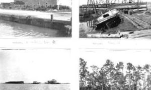 "G-1771FF13.1-3 ""Wrecked Elev. 'B'"" (upper left).  ""Elev. 'A.'""  (upper right).   Quarantine Station (lower left).  Bayou (lower right)."