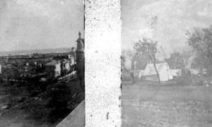 G-1771FF7.13-9 View from Rosenberg School, 11th Street and Avenue H, looking southeast (left).  U.S. Army encampment (right).