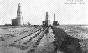 "G-5925.1FF1-1 THE GALVESTON SEAWALL.""  ""LAYING THE FOUNDATION - 3 ROWS OF 50 FT. PILING, AND 1 ROW SHEET PILING."