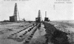"G-5925.1FF1-3 THE GALVESTON SEAWALL.""  "" LAYING THE FOUNDATION - 3 ROWS OF 50 FT. PILING, AND 1 ROW SHEET PILING."