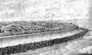 G-5925.3FF3-14 Painting by J. Stockfleth of Galveston of Engineers' Plan of Seawall in East End