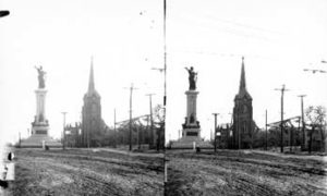 SC#194-11 View of Texas Heroes Monument and ruins of St. John's Methodist Episcopal Church.