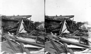 SC#194-12 Debris piled up from wrecked houses