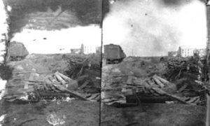 SC#194-17 Debris strewn in railroad yard.