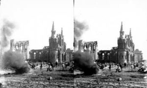 SC#194-23 Burning bodies near Sacred Heart Church.