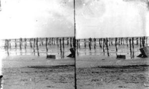 SC#194-35 View of beach and pilings in water.