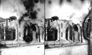 SC#194-37 First Baptist Church, damaged.