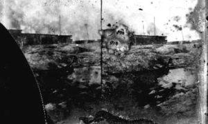 SC#194-46 Debris (foreground); J. Moller & Co. Cotton Warehouse (background).