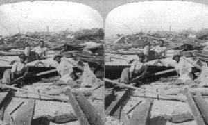 SC#79-10 Galveston Disaster. Survivors from flood on Mallory wharf.