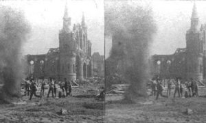 SC#79-18 Burning Bodies, 14th Street and Broadway, Sacred Heart Church in Background, Galveston
