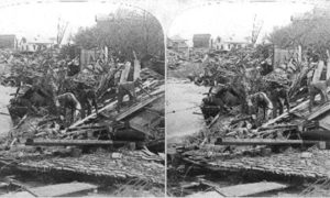 SC#79-23a Recovering bodies from that awful chaos of Wreckage, Galveston Disaster.