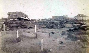 """SC#97 oversized 20th St. looking from Ave P."""" The 3 houses partially standing, is the only thing left through to the Beach."""
