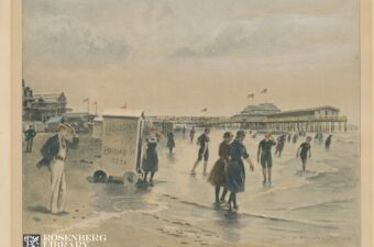 Photo of roller bathhouse and beach visitors. Roller Bathhouses