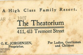 Business card of the Theatorium, 411-413 Tremont Street, Galveston, Texas. Recalling Galveston's Theatorium and Colonial Theater
