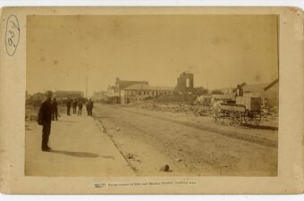 Photo of Vulcan Iron Works Foundry From Corner of 18th and Market Streets. The Great Galveston Fire of 1885: November 13, 1885