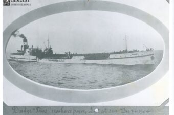 "Photo of Steam Dredger Texas (""1900 Horse Power, Lost At Sea, Dec. 24, 1904"") The Ill-Fated Maiden Voyage of the Texas"