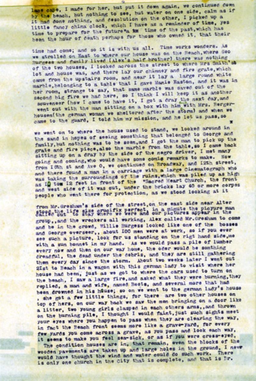 """2000-0034 Mrs. Alex """"Mamie"""" Easton 1900 Storm Letter"""