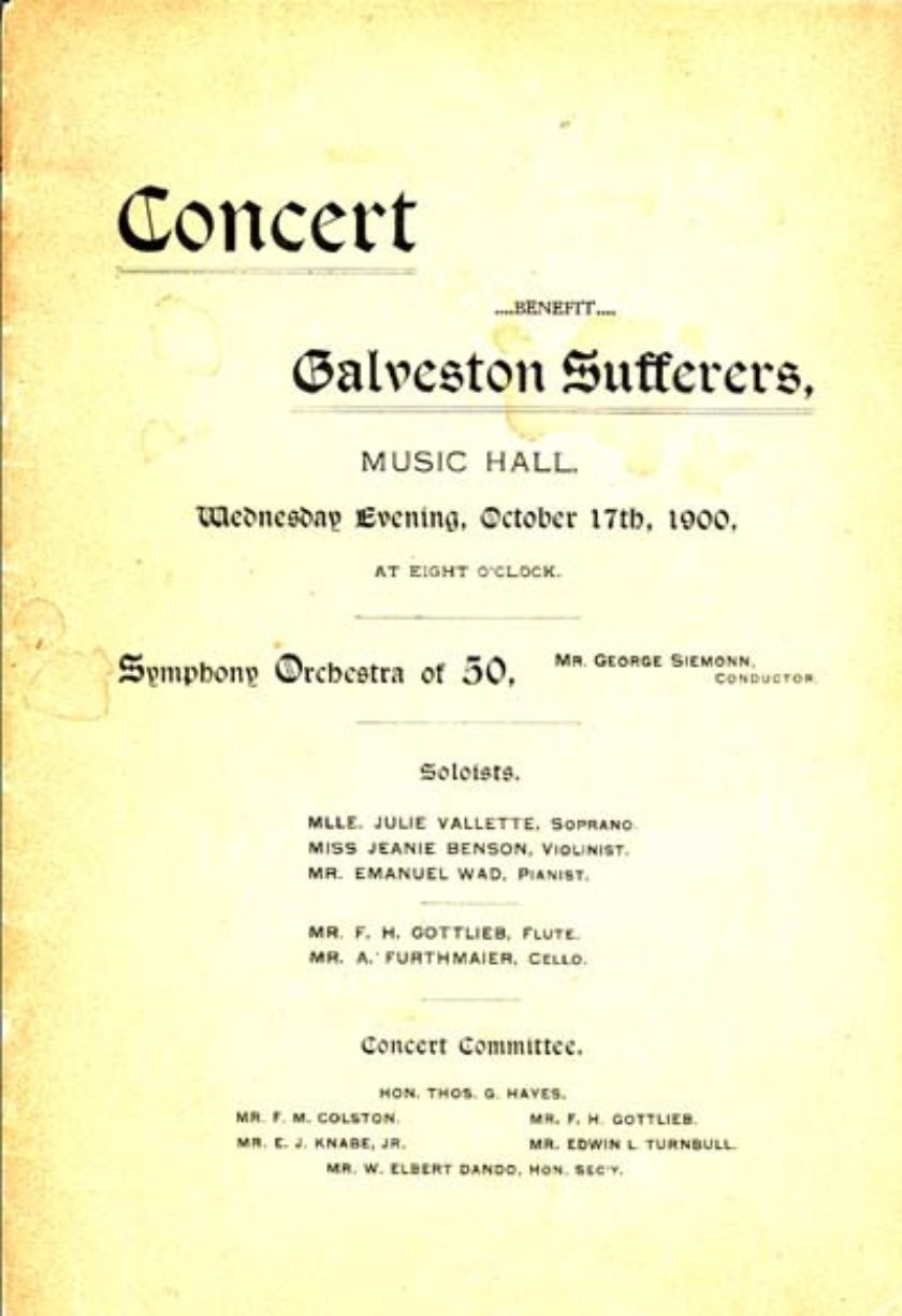 80-0019 Baltimore. Committee in Aid of the Galveston Sufferers Concert Program