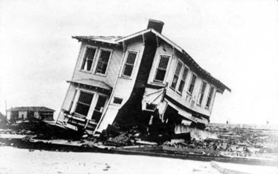 G-17713FF9.2-16 Wrecked houses and street railway track.