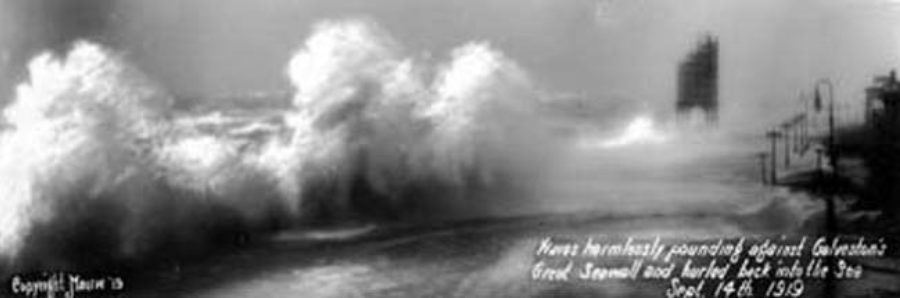 G-17714FF1-4 Waves harmlessly pounding against Galveston's Great Seawall and hurled back into the Sea Sept. 14th. 1919