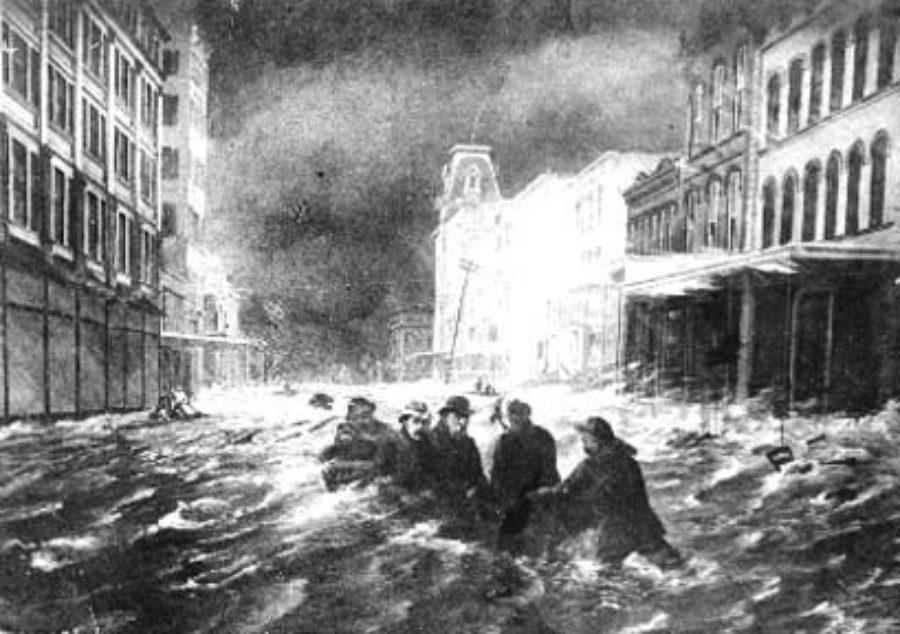 G-1771FF12.1-3 Tremont Street, Galveston, During Hurricane of Sept. 8th 1900