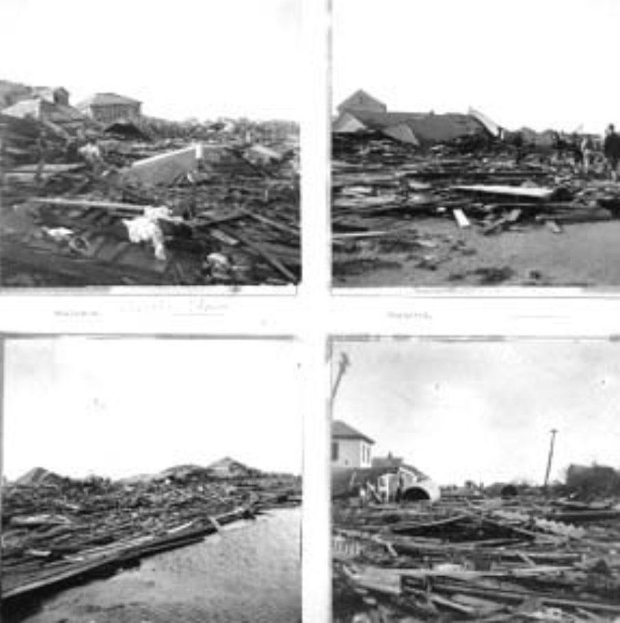 "G-1771FF13.1-6 Workers amid debris (upper left).  Workers amid debris (upper right).  ""Ave. 'Q'""  (lower left).  ""Tremont Street"" (lower right)."
