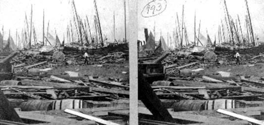 G-1771FF2.1-6 The Wharf, and Bay.  Wreckage, Death, and ruin, met the eye on every side
