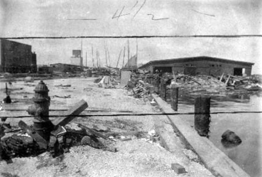 G-1771FF2.3-9 Wrecked Boats in front Mallory Line shed