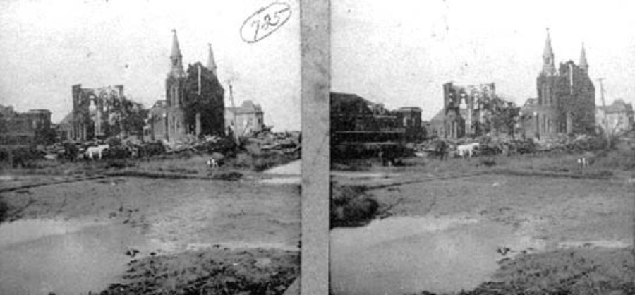 G-1771FF3.1-8 Sacred Heart Church.  Completely destroyed.