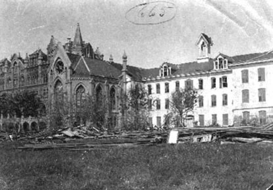 G-1771FF3.8-2 South view Ursuline Convent showing Debris