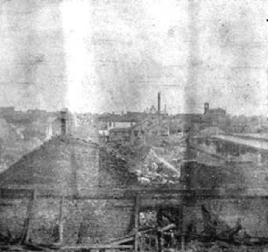 G-1771FF6.4-8 View of Taylor Compress ware house ruins, from top of Compress, Looking East, toward Custom House.