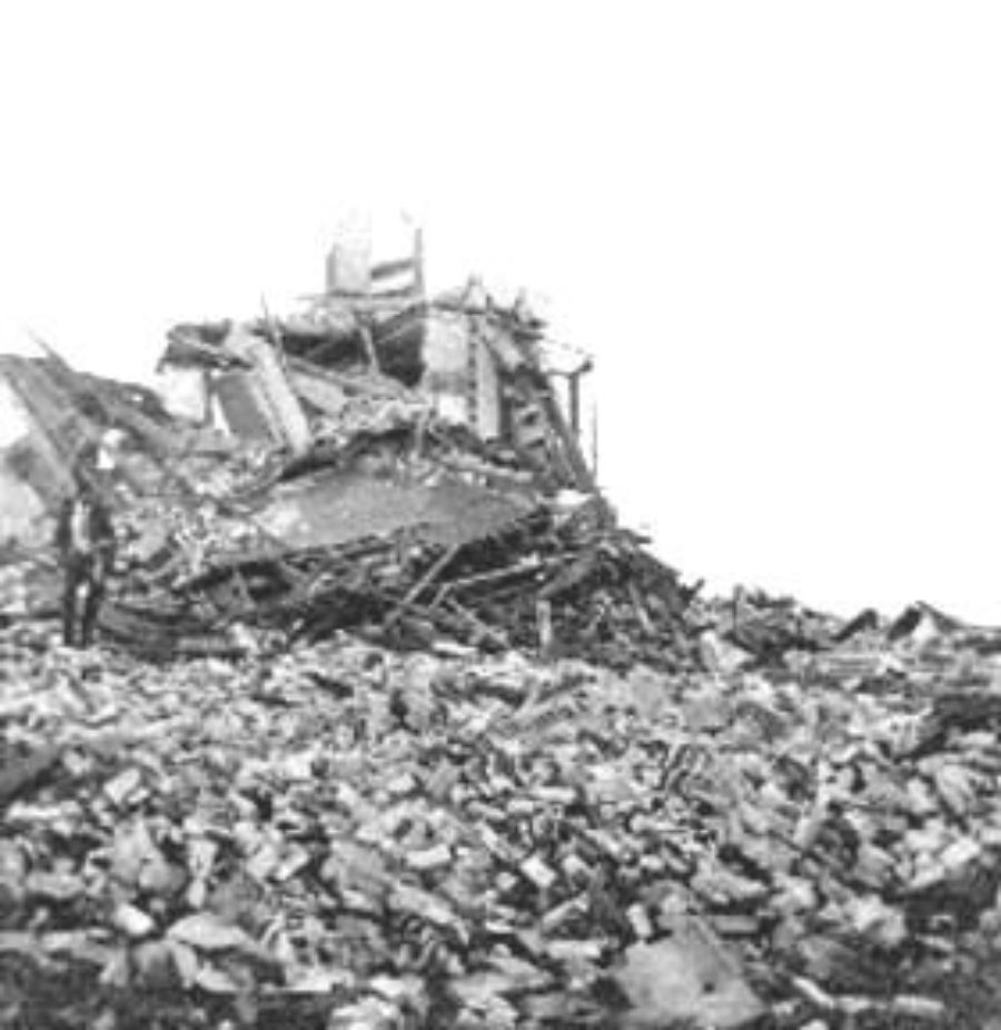 G-1771FF7.1-7 All that remained of an apartment house near the beach