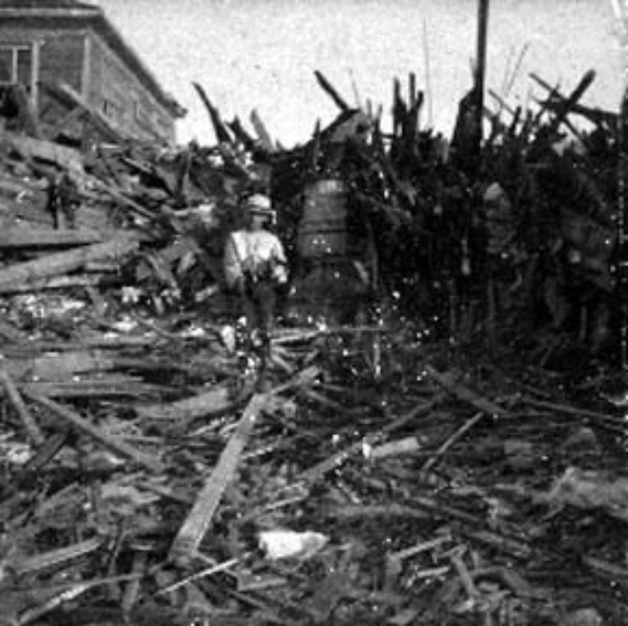 G-1771FF7.8-11 M & 15.  Showing wall of debris