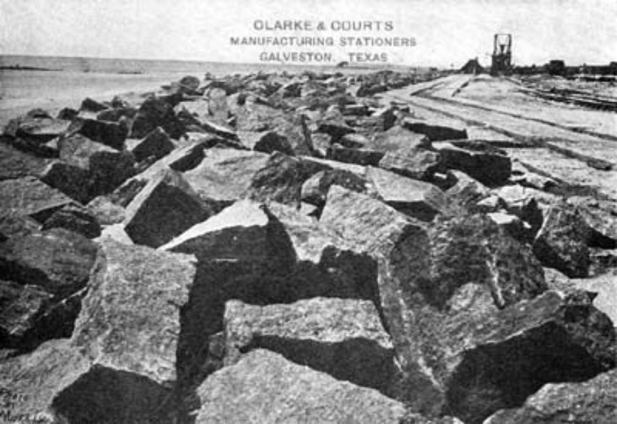 "G-5925.1FF3-5 THE GALVESTON SEAWALL.""  ""SCENE SHOWING RIPRAP AND FOUNDATION OF SEAWALL."
