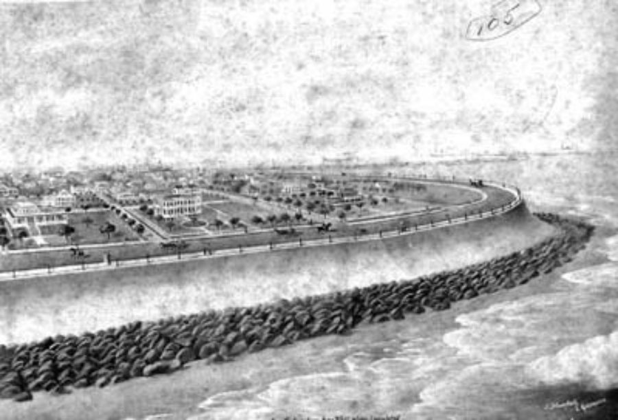 G-5925.3FF3-14 Painting by J. Stockfleth of Galveston of Engineers' Plan of Seawall in East End
