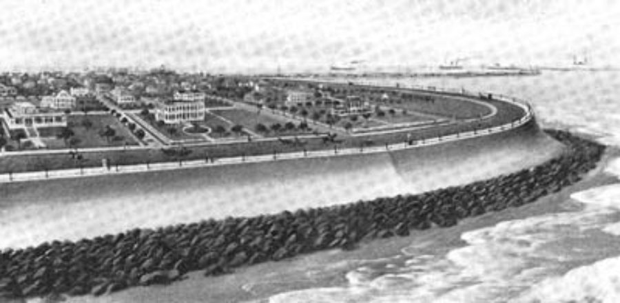 G-5925.3FF3-6 The East End of Galveston Seawall When Completed.