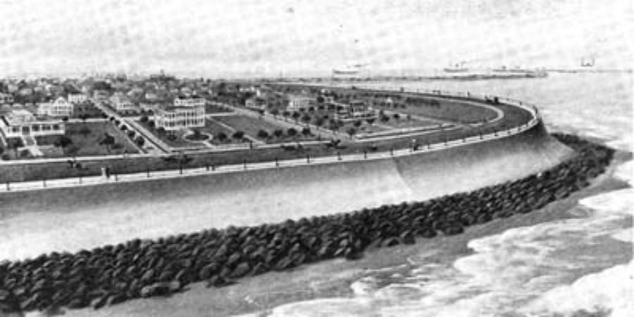 G-5925.3FF3-7 THE EAST END OF GALVESTON SEAWALL WHEN COMPLETED