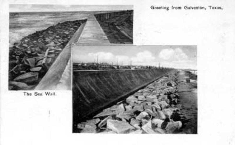 G-5925.3FF6-1 Greeting from Galveston, Texas.  The Sea Wall.