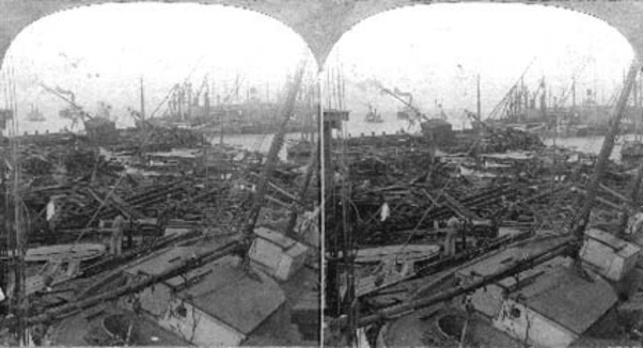 SC#146.1-5 Stranded Vessels at the Wharves, Galveston, Texas
