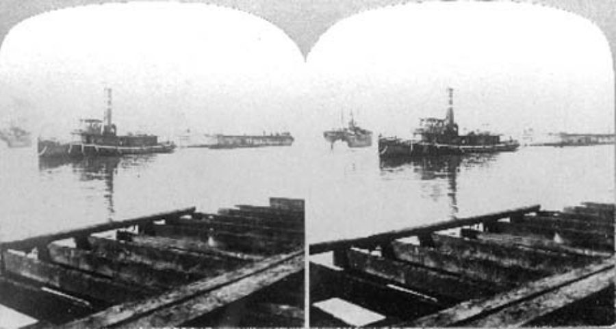 SC#146.2-6 The Galveston Tornado Sept. 8th 1900.  Barge going to sea with 200 dead bodies.