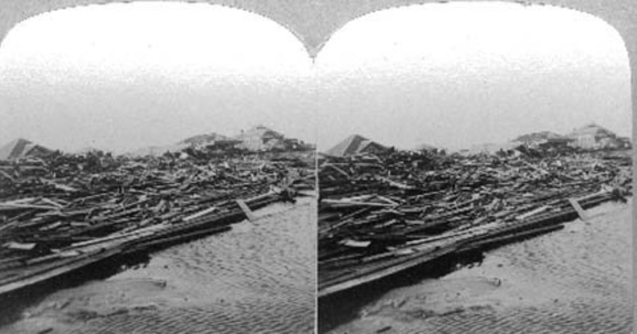 SC#146.2-7 The path of desolation, wraught by the great storm at Galveston, September 8th 1900