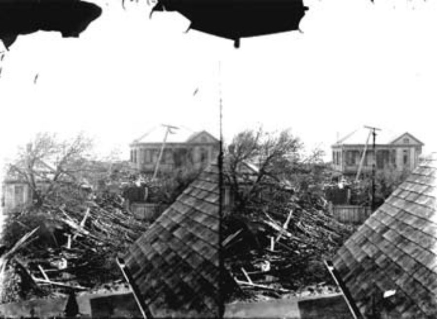 SC#194-24 Residential damage viewed from roof of house.