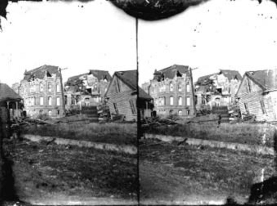 SC#194-43 Looking from across street at wrecked Galveston Orphans Home and houses.