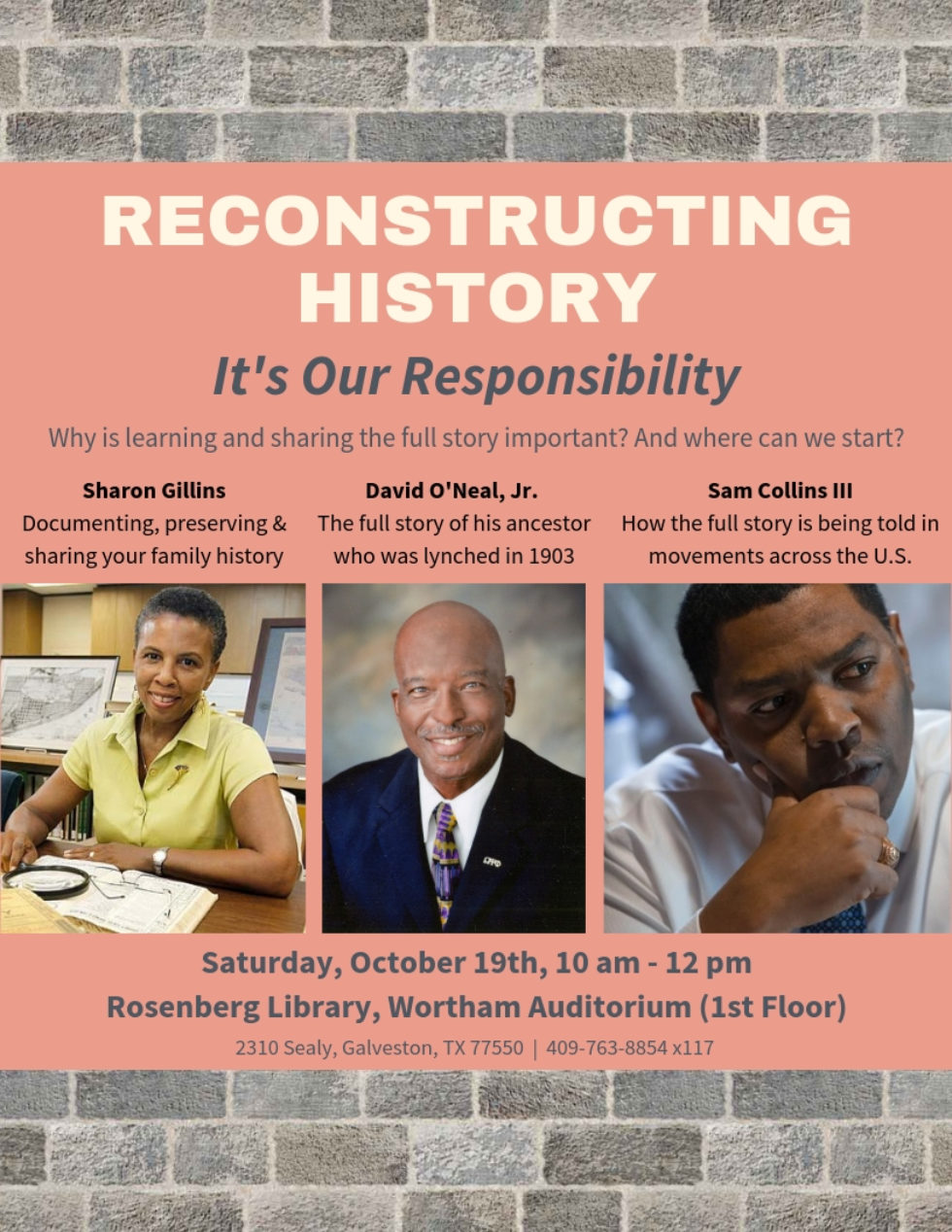 Reconstructing History Panel Discussion, October 19th