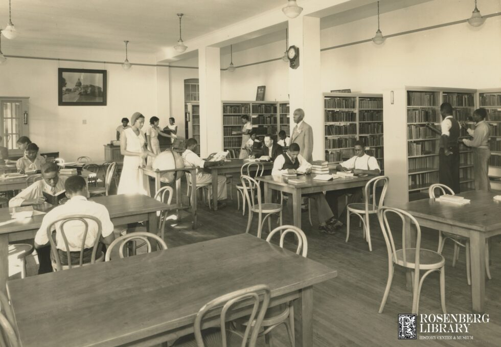 Photo of John R. Gibson assisting students in Rosenberg Library's Colored Branch, 1936. Those Who Fell: Part 3 of Profiles of Selected 1900 Storm Victims