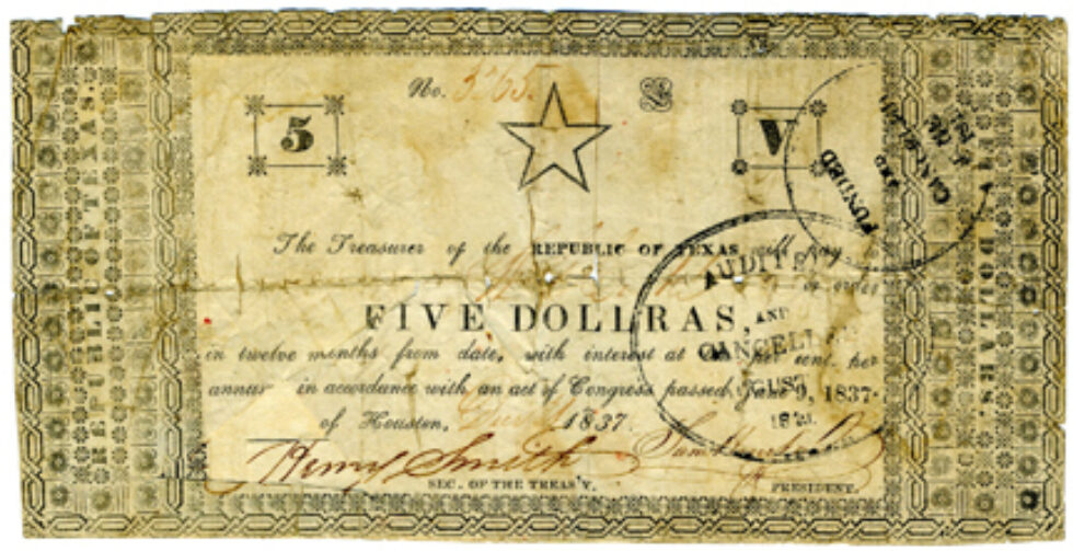 On The Run: Currency, Credit, and Capitals of the Republic of Texas