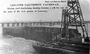 G-18221FF2-2 Greater Galveston Causeway.  Driving steel interlocking sheeting forming a crib for one of the piers of the arch portion of Causeway.