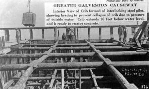 G-18221FF2-3 Greater Galveston Causeway.  Interior View of Crib formed of interlocking steel piles...